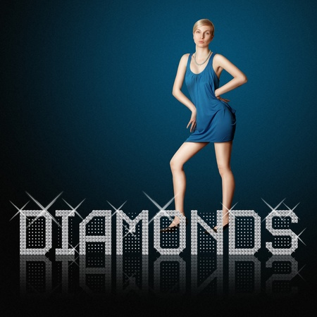 diamond letters and blond woman, concept diamonds are girl's best friends, all vector letters are in mine portfolio Stock Photo - 9094333