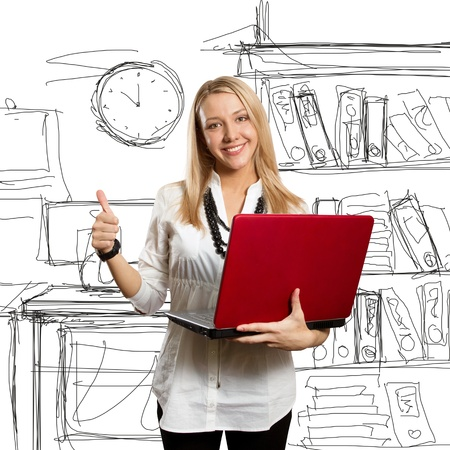 done: businesswoman with red laptop shows well done Stock Photo