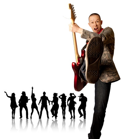 punk man with the guitar and black people silhouette photo