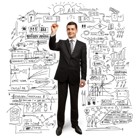 whiteboard: male businessman with marker writting something on glass writeboard