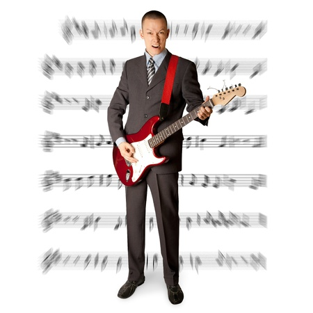 hardrock: punk man with the guitar isolated on white background