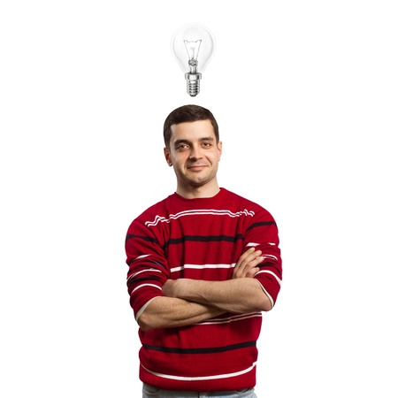 young male have got an idea and smiles on camera Stock Photo - 9094391