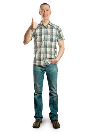 full length man shows well done against different backgrounds Stock Photo - 9180382