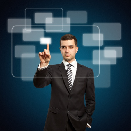 businessman push the button on virtual touch pad Stock Photo - 9233621