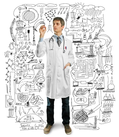 Doctor male writing something with marker on glass Stock Photo - 9233596