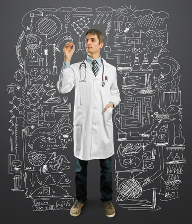 Doctor male writing something with marker on glass  Stock Photo - 9233613