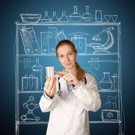 doctor woman with cup for analysis - urine, sperm photo