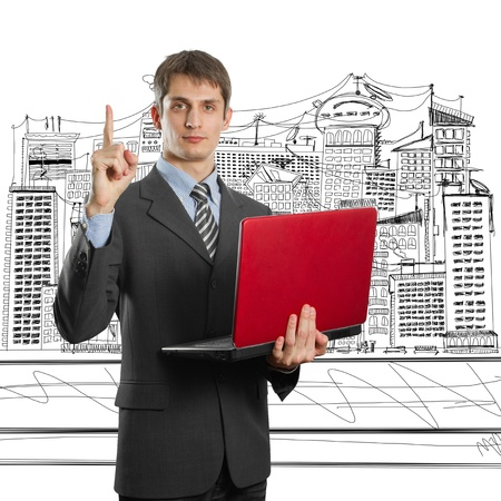 male businessman in suit with laptop in his hands have got an idea Stock Photo - 9712281