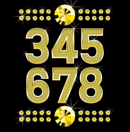set of golden metall diamond letters and numbers big and small Stock Vector - 9336204