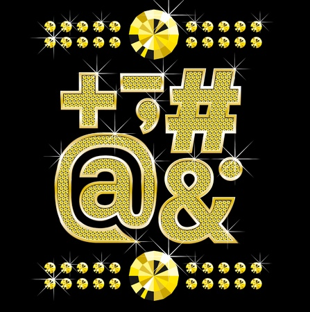 metall: set of golden metall diamond letters and numbers big and small Illustration