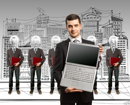 lamp head businesspeople with red laptop in his hands photo