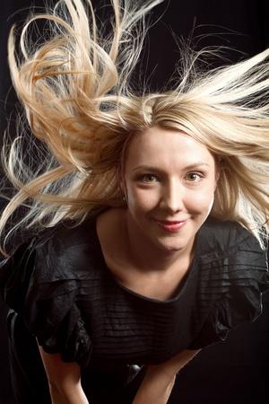 pretty woman with beautiful hair in night club Stock Photo - 9336191