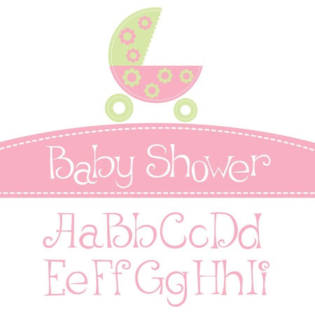 buggy: vector baby girl arrival announcement card, with font Illustration