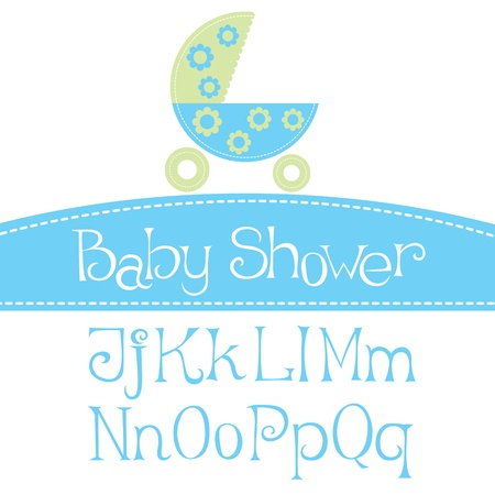 baby carriage: vector baby girl arrival announcement card, with font Illustration