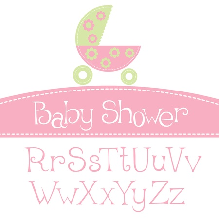 vector baby girl arrival announcement card, with font Иллюстрация