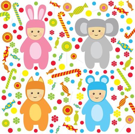 Vektor-little Hsppy Babys Set, mit Süßigkeiten, für Baby-Dusche