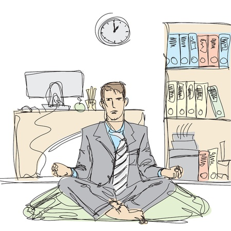 casual business man: businessman in lotus pose meditating at the office Illustration