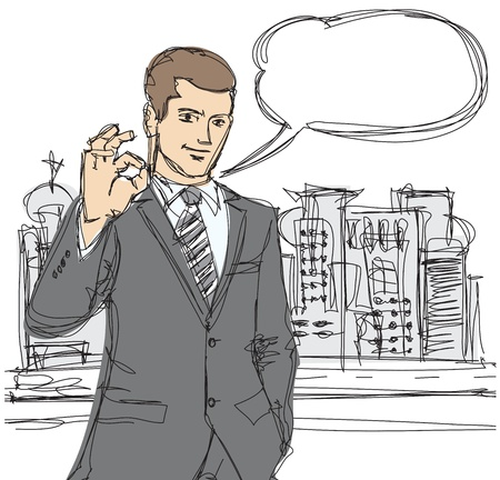 vector sketch of happy businessman shows OK Vector