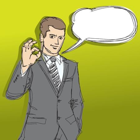 vector sketch of happy businessman shows OK Vector