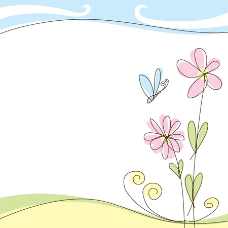 beauty birthday: vector abstract summer or spring greeting card