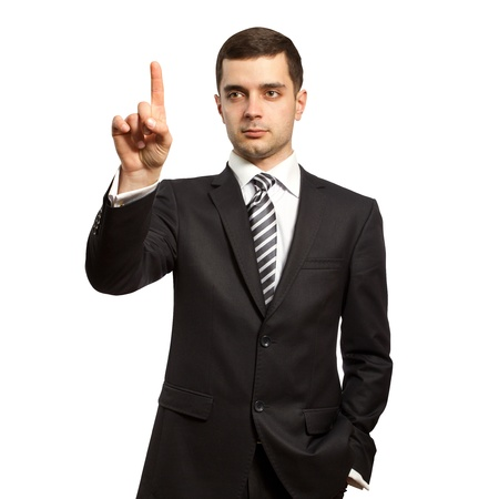 businessman push the button on virtual touch pad Фото со стока