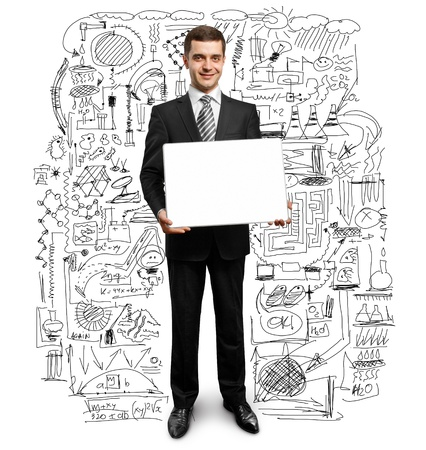 businessman holding empty write board in his hands Stock Photo - 9391728