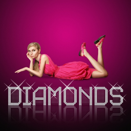 diamond letters and blond woman, concept diamonds are girls best friends, all vector letters are in mine portfolio photo
