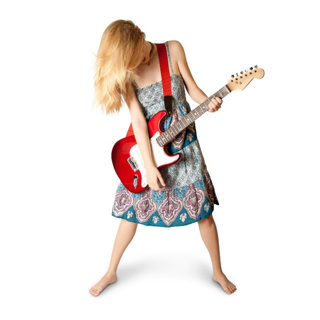hippie girl with red electric guitar in dress photo
