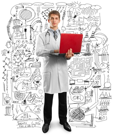 male doctor in suit with laptop in his hands, looking on camera Stock Photo - 9461465