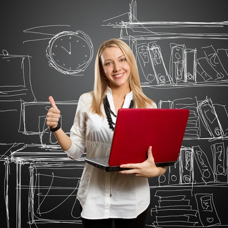 businesswoman with red laptop shows well done Stock Photo - 9461483