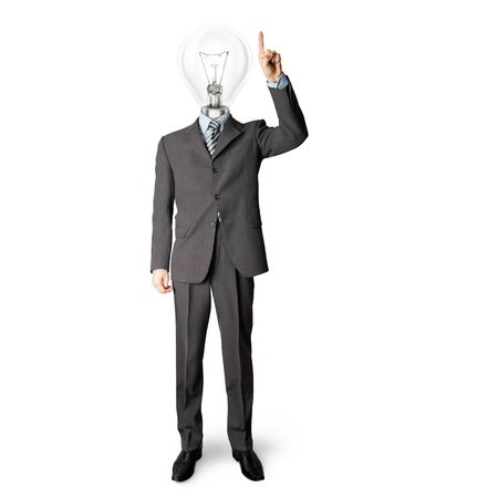 full length businessman with lamp-head push the button on virtual touch pad Stock Photo - 9461442