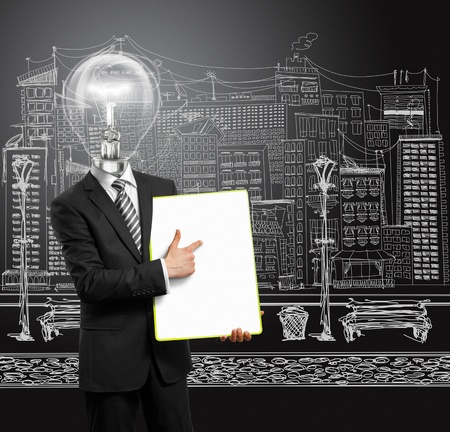 lamp head businessman holding empty write board in his hands Stock Photo - 9461474