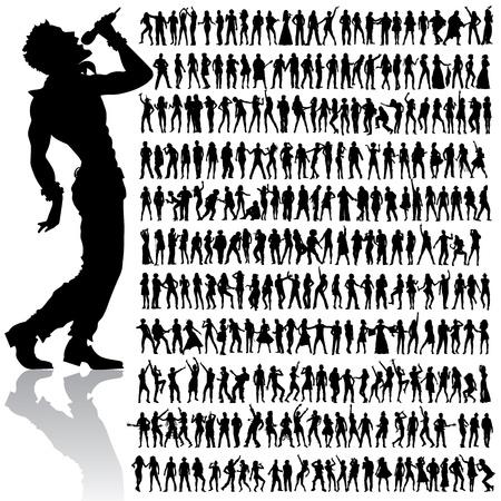 meer dan 200 vector handgemaakte dansen en zingen volkeren silhouetten