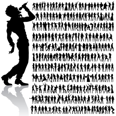 singer with microphone: over 200 vector handmade dancing and singing peoples silhouettes