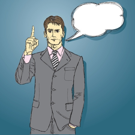 vector male businessman in suit, looking on camera Vector