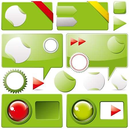 Collection of brightly colored, glossy web elements Vector