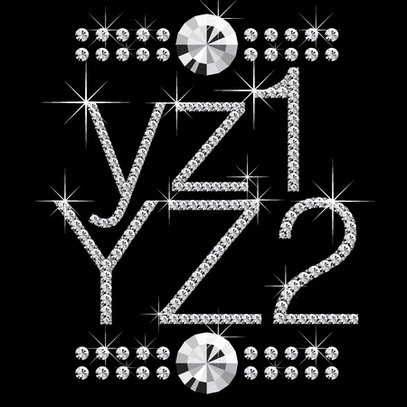 diamond letters: vector diamond letters with gemstones isolated on black Illustration