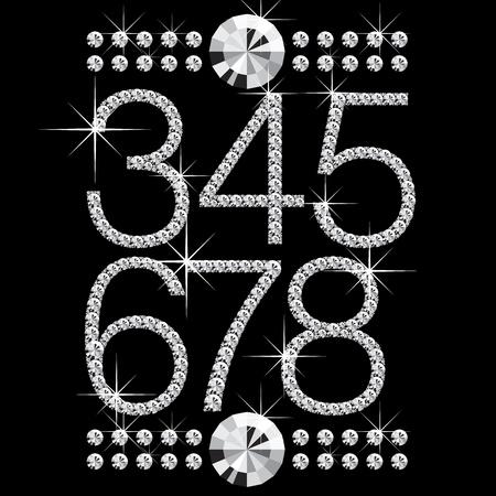 black diamond: Vector cartas de diamante con piedras preciosas aisladas en negro