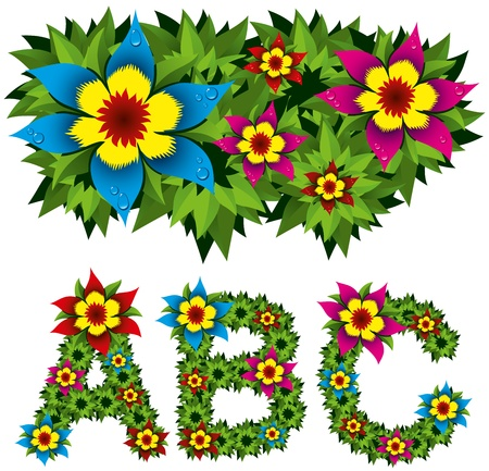 vector alphabet from green leaves and flowers isolated on white backgrounds Vector