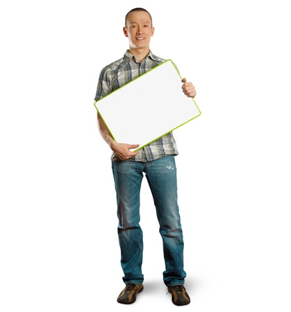 asian male with write board in his hands isolated against different backgrounds photo