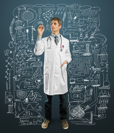 Doctor male writing something with marker on glass Stock Photo - 9712296