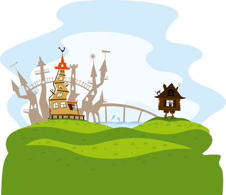 vector fairytale city on green hills with bridge and lake with fish Vector