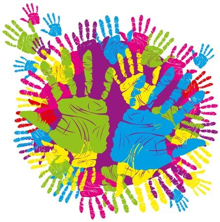 handprints: vector color childrens and parents handprints means different symbols Illustration