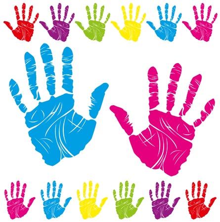 racisme: vector kleur kinderen en ouders handafdrukken betekent dat verschillende symbolen