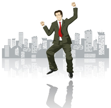 banker: vector happy businessman in the big city Illustration