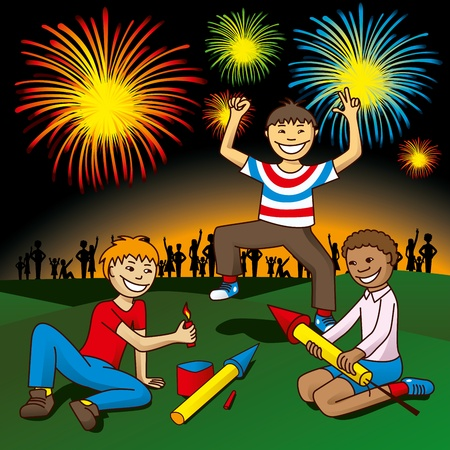 vector kids with fireworks on the hill celebrate independence day Vector