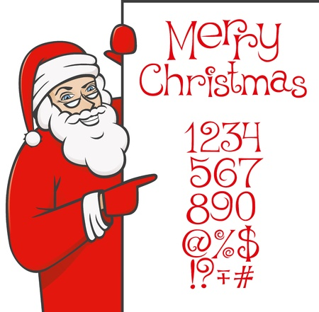 vector santa claus with christmas alphabet showing something by his index finger Stock Vector - 9564082