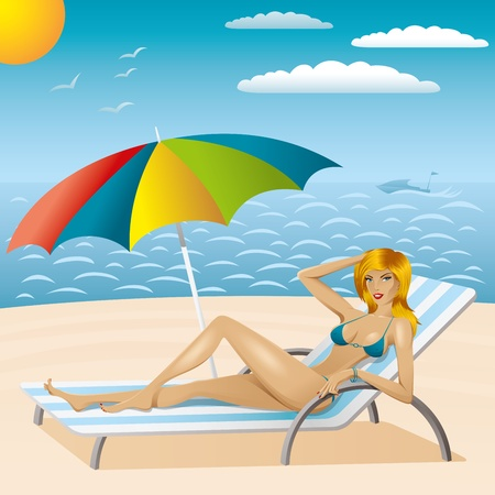 vector sexy woman in bikini with umbrella on the beach Vector