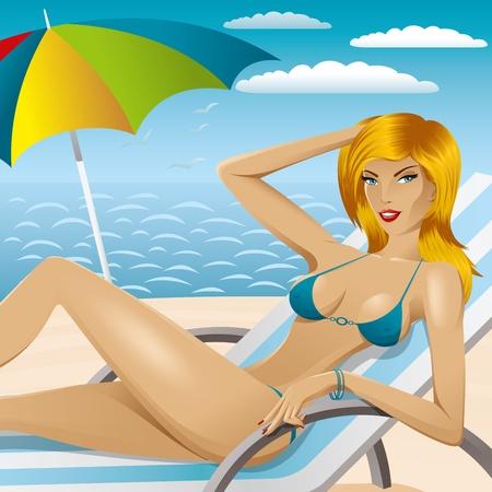 vector sexy woman in bikini with umbrella on the beach Stock Vector - 9564114