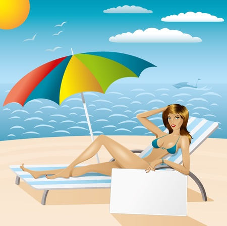 vector sexy woman in bikini with umbrella and empty board on the beach Stock Vector - 9564116